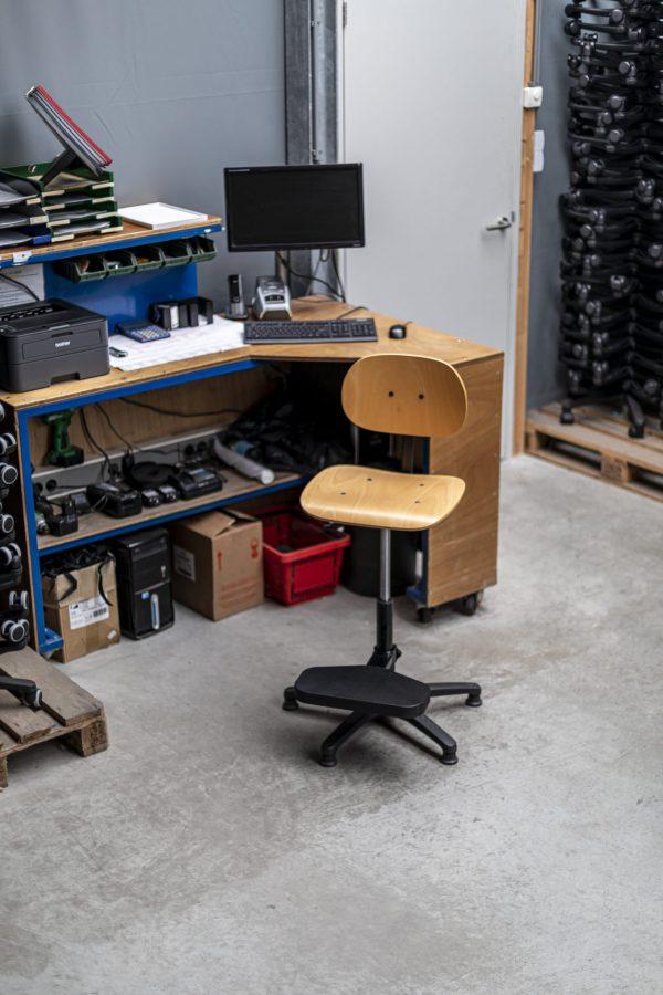 Rodachair houten bedrijfsstoel